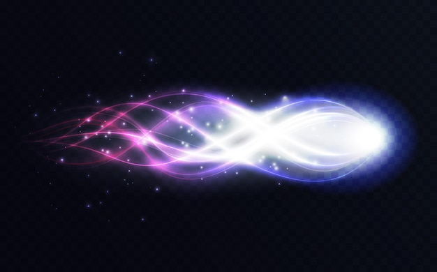 Abstract energy shining lines glowing light effect bright swirl flying magic glow wave