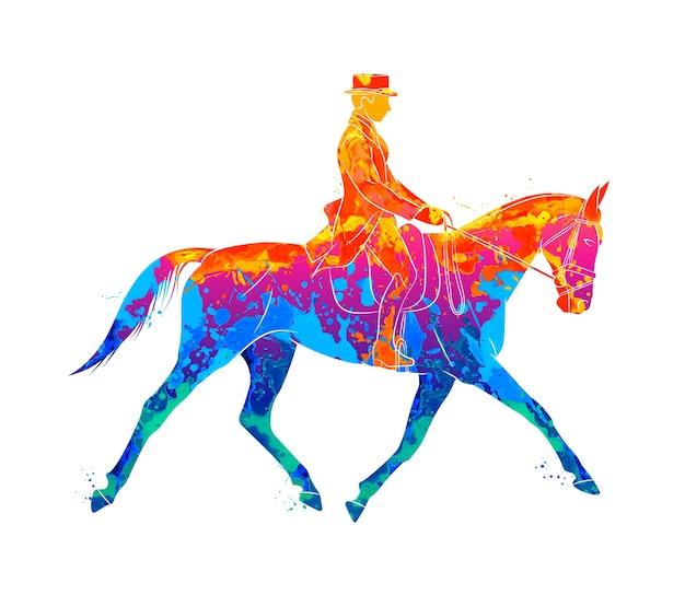 Абстрактный конный спорт от всплеск акварели. жокей в униформе верховой лошади. выездка на белом фоне. иллюстрация красок