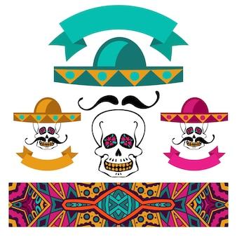 口ひげとソンブレロと抽象的な民族のカラフルなバナーメキシコセットスカル