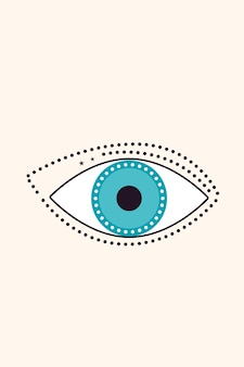 Abstract evil eye sign design t shirt print tarot card boho poster.