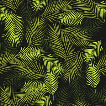 Abstract exotic plant seamless pattern on black background.