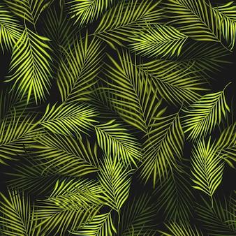 검은 배경에 초록 이국적인 식물 원활한 패턴입니다.