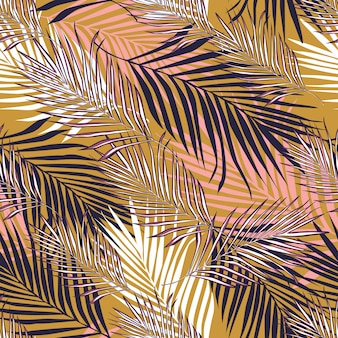 Abstract exotic plant seamless pattern