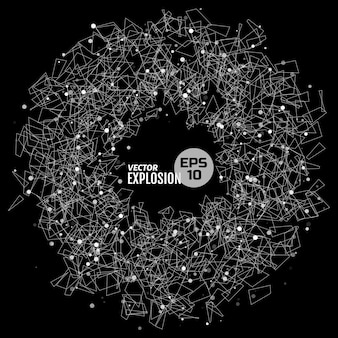Abstract explosion consists of dots and geometric shape. design element for science, technological publication.