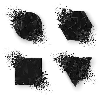 Абстрактный взрыв геометрических фигур. веб-баннеры установлены. геометрия наклейка с пространством для текста. иллюстрация на белом фоне
