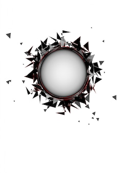 검은 유리의 추상 폭발