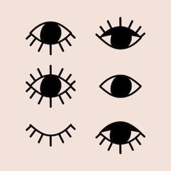 Modello astratto degli occhi, clipart di vettore psichedelico mistico disegnato a mano