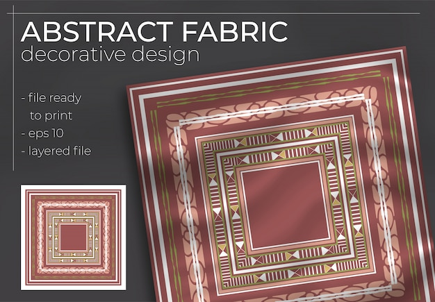 Abstract fabric decorative design with realistic mock up for printing production. hijab , scarf , pillow , etc.
