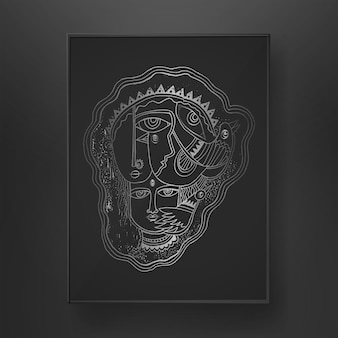 Абстрактное лицо линии искусства рисованной на темном фоне с рисованием кисти птицы