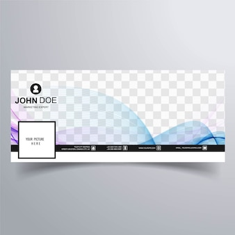 Abstract facebook cover template with wavy lines