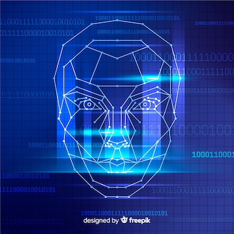 Abstract facial recognition blue background