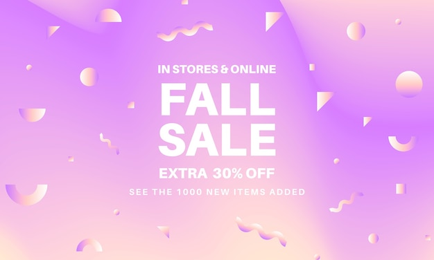 Abstract fall sale banner with geometric elements. vivid gradient