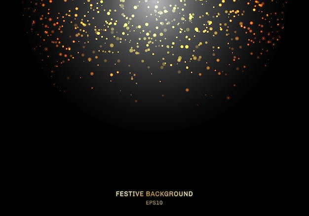 Abstract falling golden glitter lights a black background