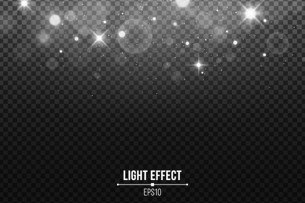 Абстрактные падающие огни боке изолированы. сияющие белые звезды и блики. белый блеск.