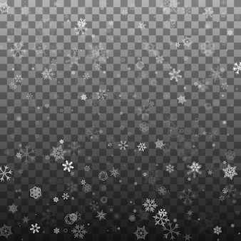 Abstract falling snowflakes