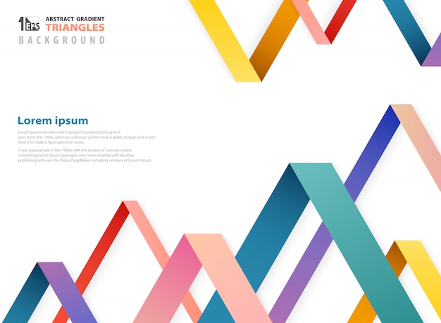 Abstract fantasy gradient color of overlapping triangles shape pattern.