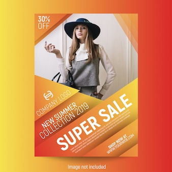 Abstract fashion poster template free vector