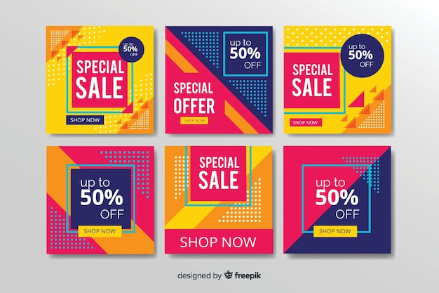 Abstract fashion sale coupons instagram post collection