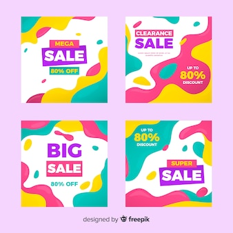 Abstract fashion sale instagram post collection