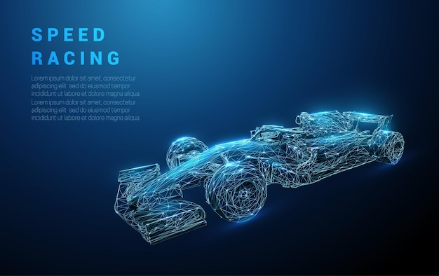 Abstract fast blue racing bolid. speeding racing sport car. low poly style design. Premium Vector