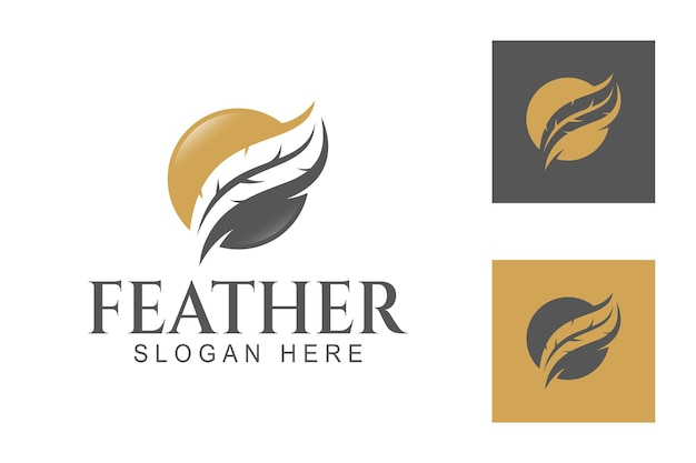 Abstract feather ink with circle shape for signature law writer notary feather pen logo template