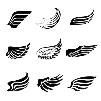 Abstract feather wings icons set