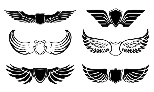 Abstract feather wings pictograms set