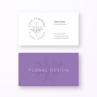 抽象的なフェミニンな花のベクトル記号またはロゴと名刺テンプレート。