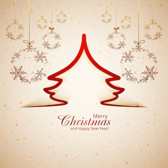 Abstract festival merry christmas card snowflake and tree background vector