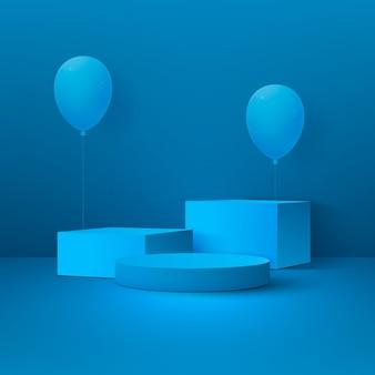 Абстрактный праздничный фон с подиумом, геометрическими фигурами и воздушными шарами.