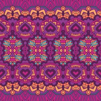 抽象的なお祝いのカラフルな民族部族のボヘミアン パターン シームレスな遊牧民の幾何学的なサイケデリックなカラフルなプリント。