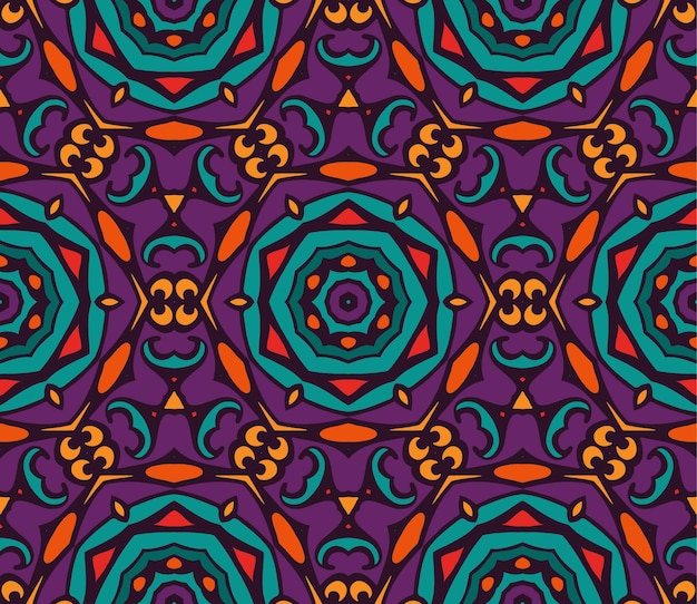 抽象的なお祭りのカラフルな花のベクトル民族部族のパターン。幾何学的な花柄