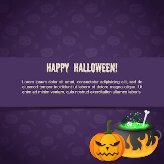 Abstract festive halloween template with text evil pumpkin potion boiling in cauldron