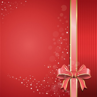 Abstract festive pink background for your design. red background with pink ribbon and bow for holidays and romantic events. holiday red background with gift glossy bow and ribbon