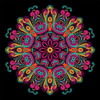 抽象的なお祭りヴィンテージ部族民族幾何学的な曼荼羅の背景。黒のドイリー丸い飾り