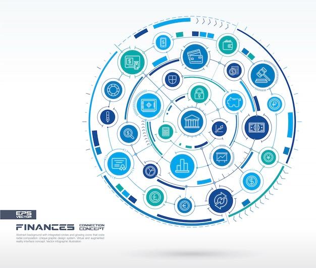 抽象的な金融、インターネット銀行技術の背景。統合された円、線のアイコンを持つデジタル接続システム。ネットワークシステムグループ、支払いインターフェイスの概念。インフォグラフィックイラスト