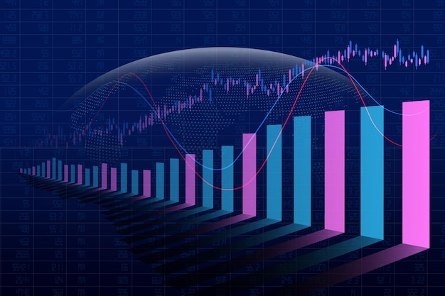 Abstract financial stock market bar graph on global background