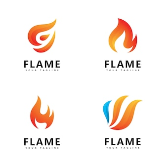 Abstract fire flame logo design