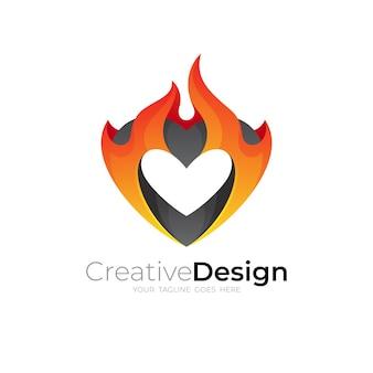抽象的な火のロゴとハートのデザインテンプレート