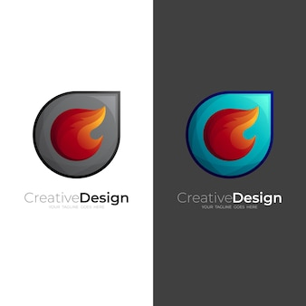 Abstract fire logo and comet design combination