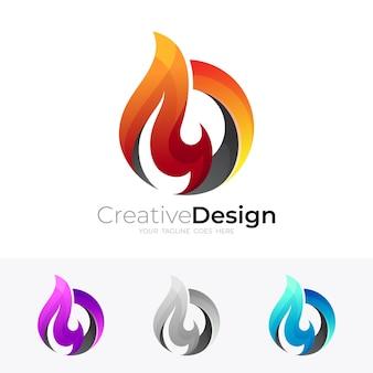 抽象的な火のロゴデザイン、火と円のアイコン