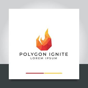 Абстрактный огонь дизайн логотипа пламя костра в стиле многоугольника
