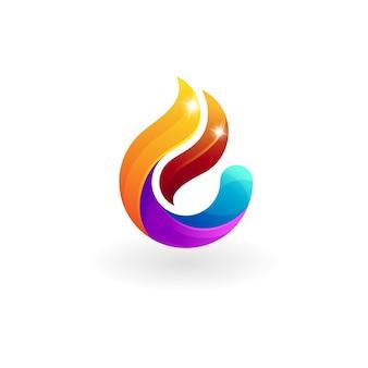 抽象的な火のロゴのデザインイラスト、光沢のあるロゴ