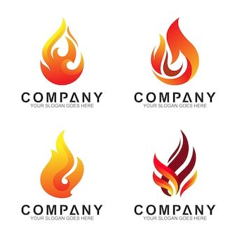Abstract fire logo set