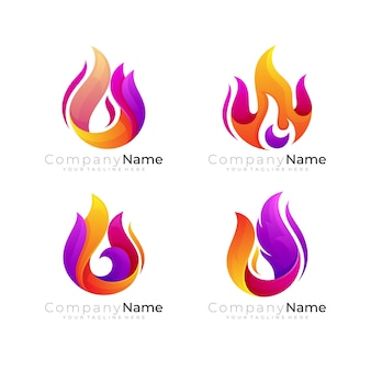 Abstract fire logo template, flame logo with 3d colorful