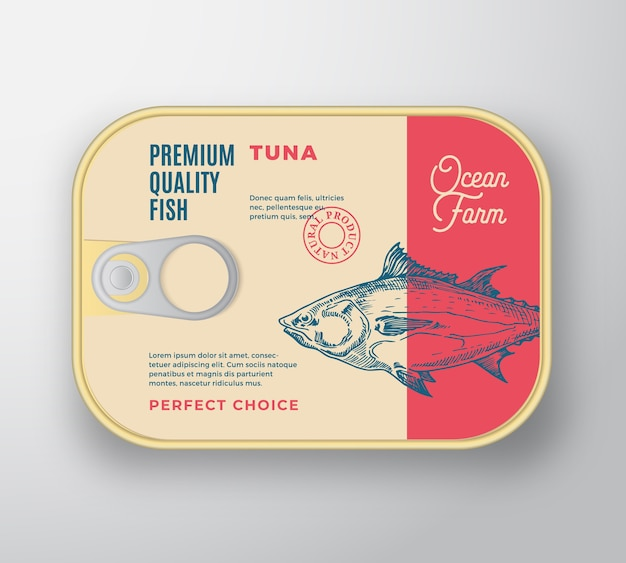 Abstract  fish aluminium container with label cover. retro premium canned packaging .