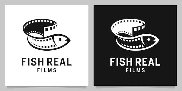 초록 물고기와 필름 스트립 비디오 필름 로고 디자인