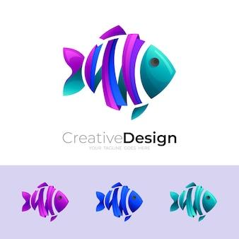 초록 물고기 로고 디자인 화려한