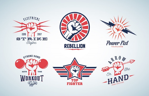 Abstract fists logo set