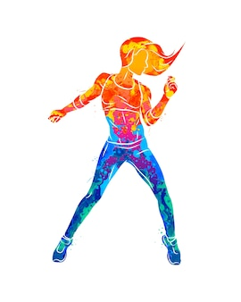 Abstract fitness instructor. young woman zumba dancer dancing fitness exercises. hip hop dancer from splash of watercolors.  illustration of paints